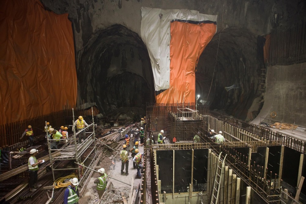 Tunnel construction at Ngau Tam Mei in 2014 (copyright David Feehan)