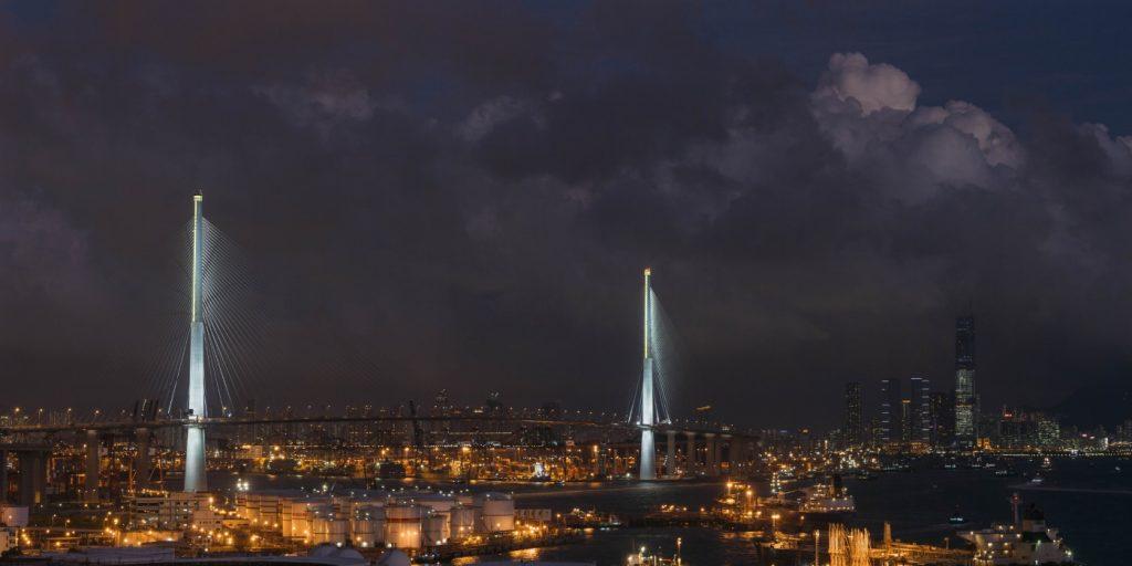 Stonecutters bridge at night, Hong Kong