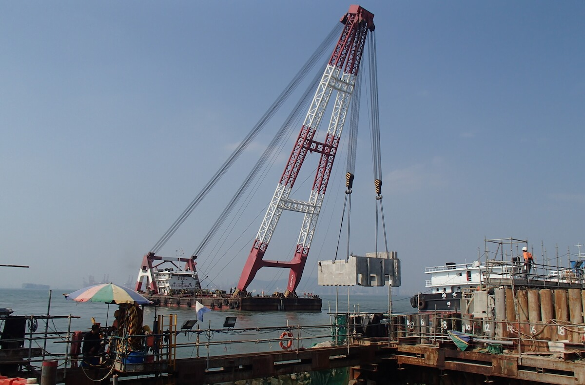 Crane with precast at Black Point Power Station